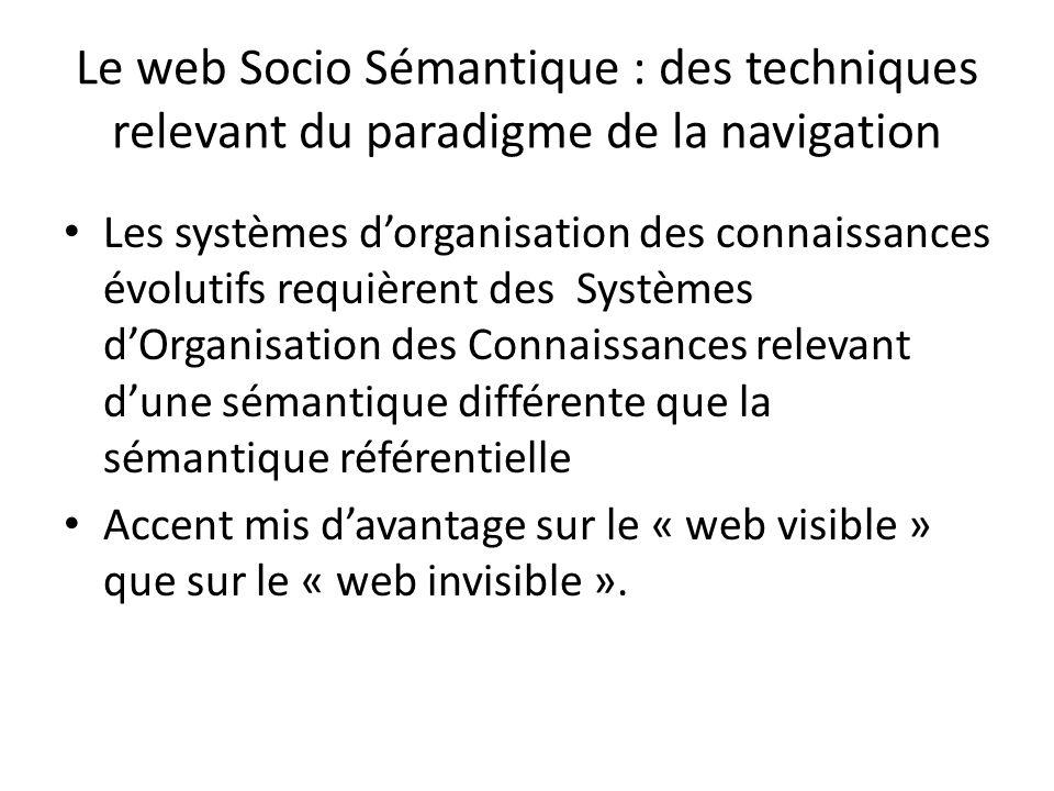 Le web Socio Sémantique : des techniques relevant du paradigme de la navigation Les systèmes dorganisation des connaissances évolutifs requièrent des