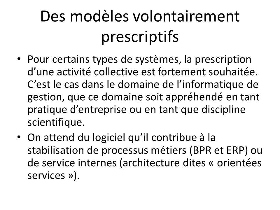 Des modèles volontairement prescriptifs Pour certains types de systèmes, la prescription dune activité collective est fortement souhaitée.
