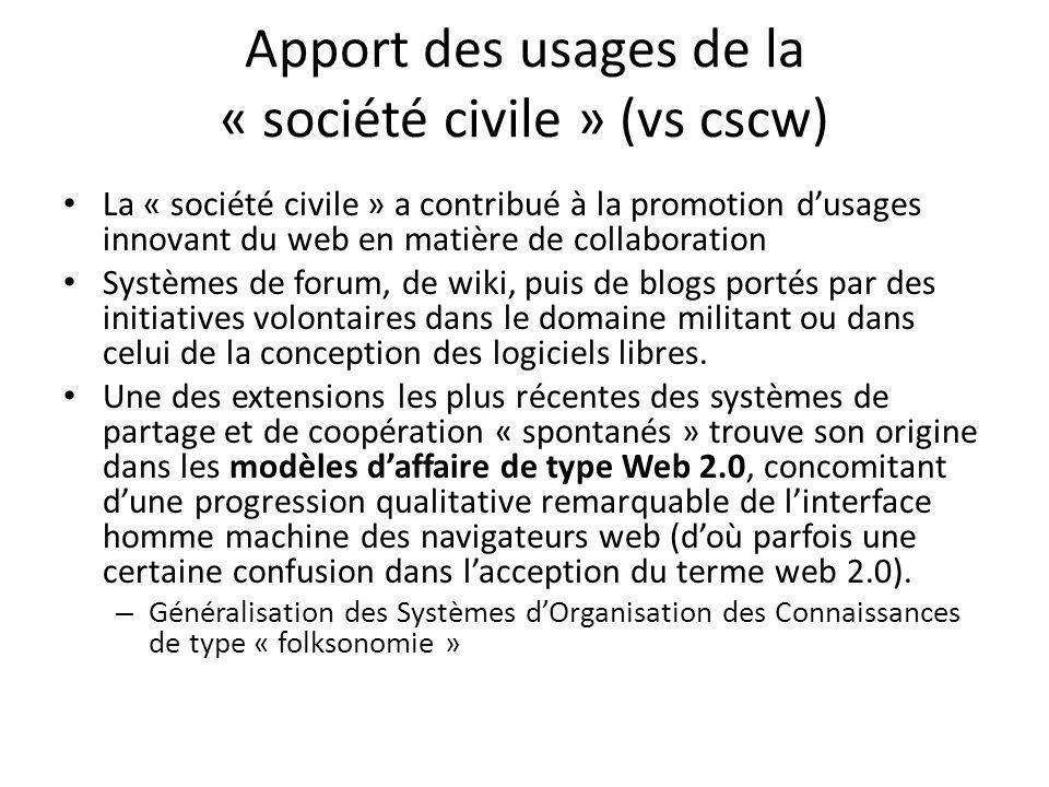 Apport des usages de la « société civile » (vs cscw) La « société civile » a contribué à la promotion dusages innovant du web en matière de collaboration Systèmes de forum, de wiki, puis de blogs portés par des initiatives volontaires dans le domaine militant ou dans celui de la conception des logiciels libres.