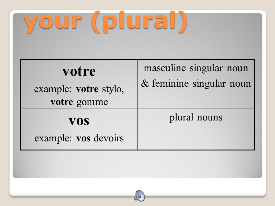 our notre example: notre stylo, notre gomme masculine singular noun & feminine singular noun nos example: nos devoirs plural nouns