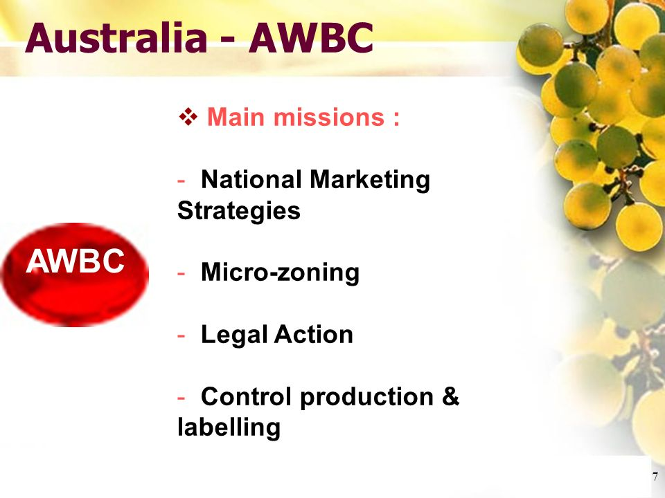 Cliquez et modifiez le titre Cliquez pour modifier les styles du texte du masque Deuxième niveau Troisième niveau Quatrième niveau Cinquième niveau 7 Australia - AWBC AWBC Main missions : - National Marketing Strategies - Micro-zoning - Legal Action - Control production & labelling