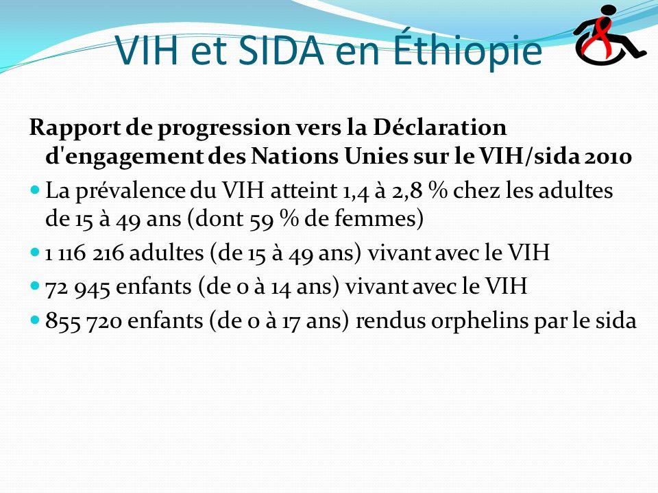 VIH et SIDA en Éthiopie Rapport de progression vers la Déclaration d engagement des Nations Unies sur le VIH/sida 2010 La prévalence du VIH atteint 1,4 à 2,8 % chez les adultes de 15 à 49 ans (dont 59 % de femmes) 1 116 216 adultes (de 15 à 49 ans) vivant avec le VIH 72 945 enfants (de 0 à 14 ans) vivant avec le VIH 855 720 enfants (de 0 à 17 ans) rendus orphelins par le sida