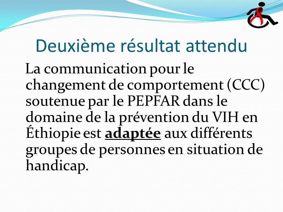 Deuxième résultat attendu La communication pour le changement de comportement (CCC) soutenue par le PEPFAR dans le domaine de la prévention du VIH en Éthiopie est adaptée aux différents groupes de personnes en situation de handicap.