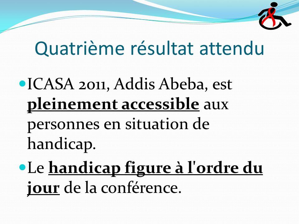 Quatrième résultat attendu ICASA 2011, Addis Abeba, est pleinement accessible aux personnes en situation de handicap.