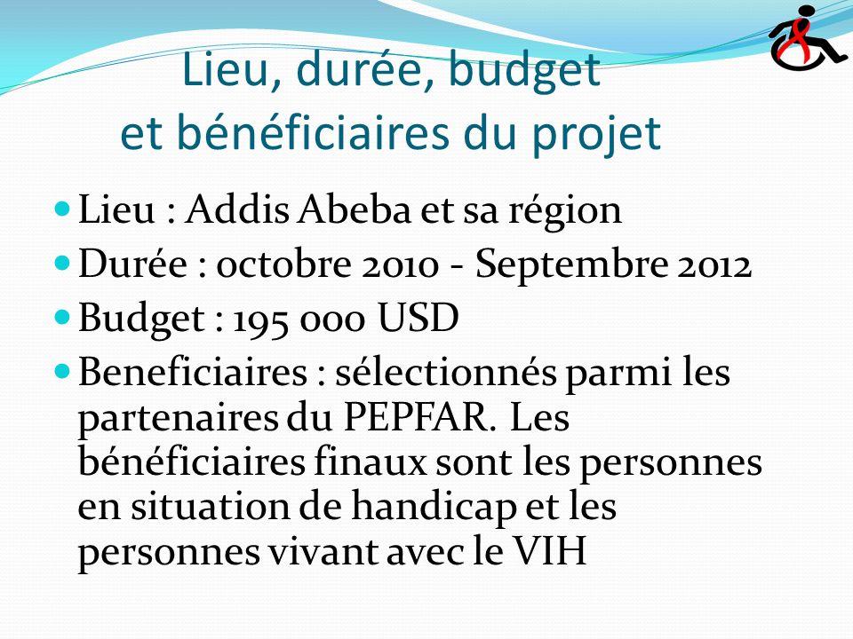 Lieu, durée, budget et bénéficiaires du projet Lieu : Addis Abeba et sa région Durée : octobre 2010 - Septembre 2012 Budget : 195 000 USD Beneficiaires : sélectionnés parmi les partenaires du PEPFAR.