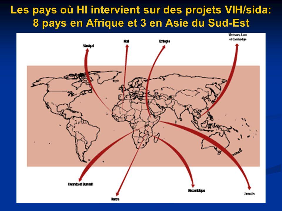 Les pays où HI intervient sur des projets VIH/sida: 8 pays en Afrique et 3 en Asie du Sud-Est