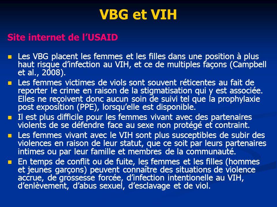 VBG et VIH Site internet de lUSAID Les VBG placent les femmes et les filles dans une position à plus haut risque dinfection au VIH, et ce de multiples façons (Campbell et al., 2008).