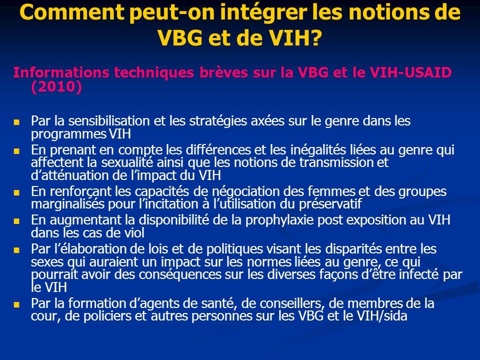 Comment peut-on intégrer les notions de VBG et de VIH.
