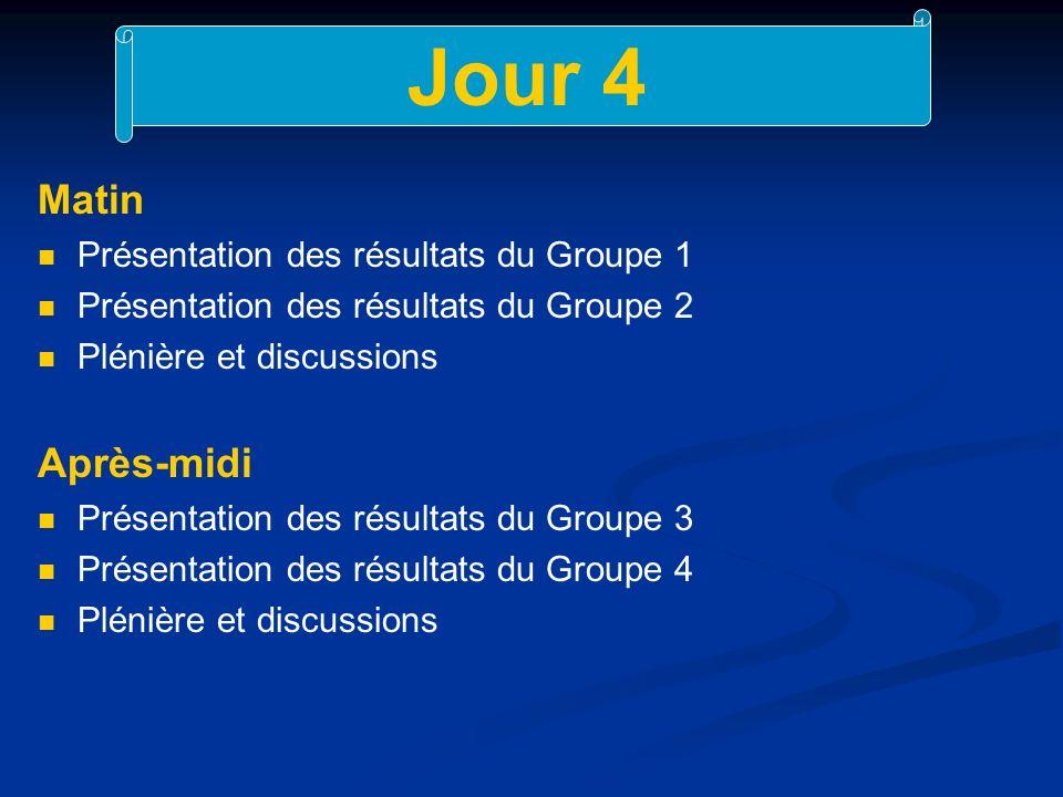 Jour 4 Matin Présentation des résultats du Groupe 1 Présentation des résultats du Groupe 2 Plénière et discussions Après-midi Présentation des résultats du Groupe 3 Présentation des résultats du Groupe 4 Plénière et discussions