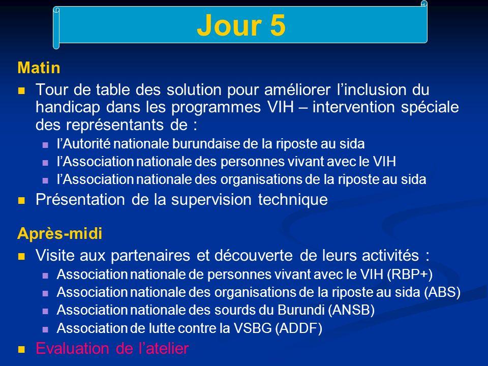 Jour 5 Matin Tour de table des solution pour améliorer linclusion du handicap dans les programmes VIH – intervention spéciale des représentants de : lAutorité nationale burundaise de la riposte au sida lAssociation nationale des personnes vivant avec le VIH lAssociation nationale des organisations de la riposte au sida Présentation de la supervision technique Après-midi Visite aux partenaires et découverte de leurs activités : Association nationale de personnes vivant avec le VIH (RBP+) Association nationale des organisations de la riposte au sida (ABS) Association nationale des sourds du Burundi (ANSB) Association de lutte contre la VSBG (ADDF) Evaluation de latelier