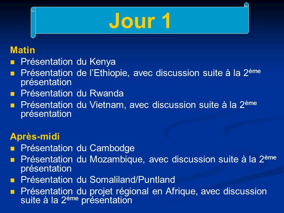 Jour 1 Matin Présentation du Kenya Présentation de lEthiopie, avec discussion suite à la 2 ème présentation Présentation du Rwanda Présentation du Vietnam, avec discussion suite à la 2 ème présentation Après-midi Présentation du Cambodge Présentation du Mozambique, avec discussion suite à la 2 ème présentation Présentation du Somaliland/Puntland Présentation du projet régional en Afrique, avec discussion suite à la 2 ème présentation