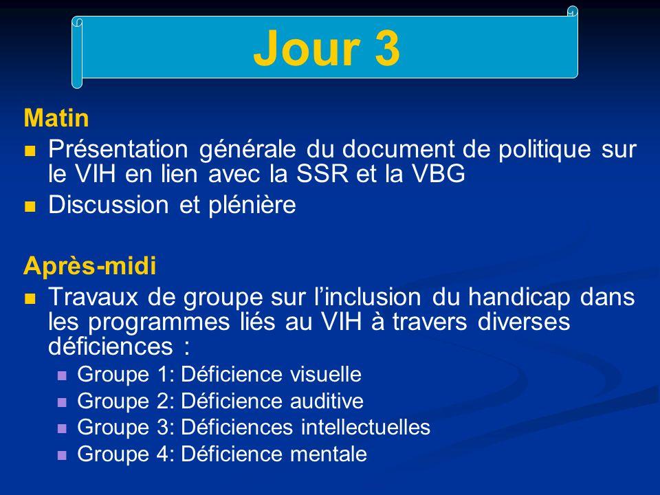 Jour 3 Matin Présentation générale du document de politique sur le VIH en lien avec la SSR et la VBG Discussion et plénière Après-midi Travaux de groupe sur linclusion du handicap dans les programmes liés au VIH à travers diverses déficiences : Groupe 1: Déficience visuelle Groupe 2: Déficience auditive Groupe 3: Déficiences intellectuelles Groupe 4: Déficience mentale