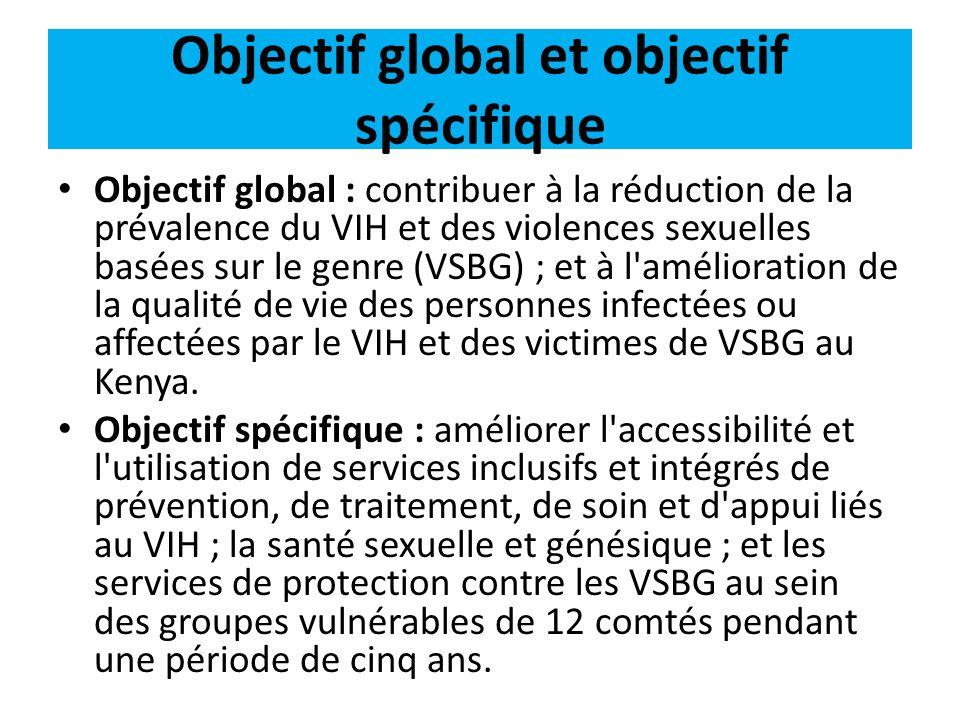 Résultats attendus Premier résultat : changement de comportement de la population cible, grâce à une utilisation accrue de services intégrés et inclusifs liés au VIH, à la SSG et aux VSBG.