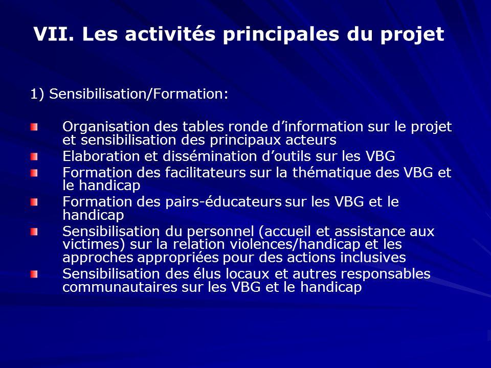 VII. Les activités principales du projet 1) Sensibilisation/Formation: Organisation des tables ronde dinformation sur le projet et sensibilisation des