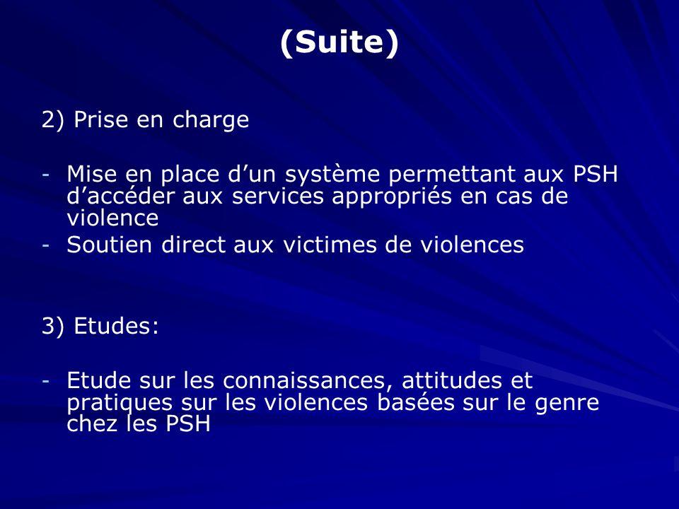 (Suite) 2) Prise en charge - - Mise en place dun système permettant aux PSH daccéder aux services appropriés en cas de violence - - Soutien direct aux