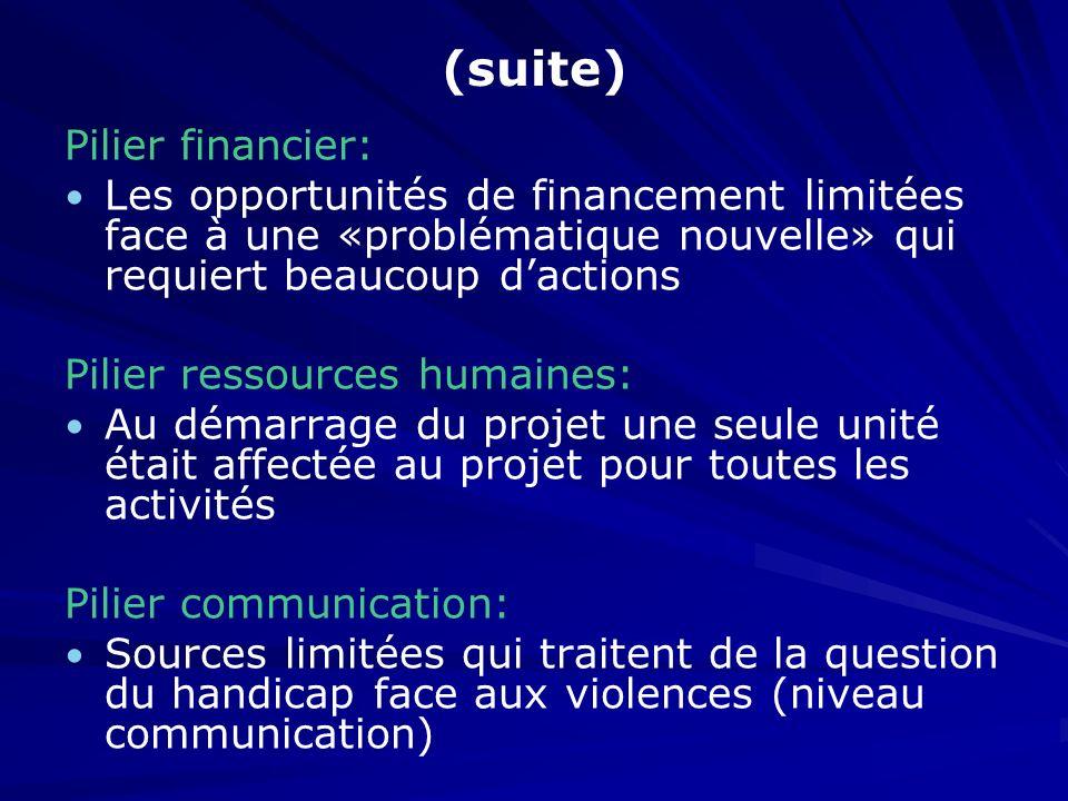 (suite) Pilier financier: Les opportunités de financement limitées face à une «problématique nouvelle» qui requiert beaucoup dactions Pilier ressource