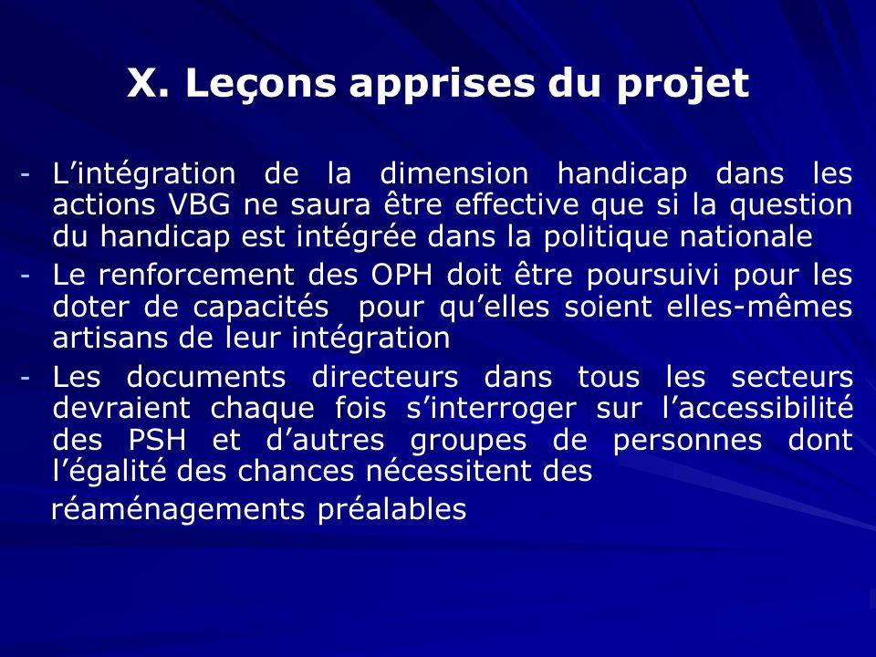 X. Leçons apprises du projet - - Lintégration de la dimension handicap dans les actions VBG ne saura être effective que si la question du handicap est