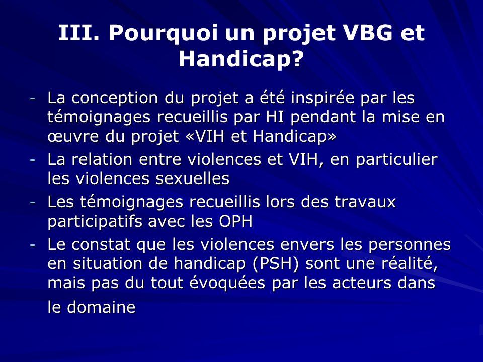 III. Pourquoi un projet VBG et Handicap? - La conception du projet a été inspirée par les témoignages recueillis par HI pendant la mise en œuvre du pr