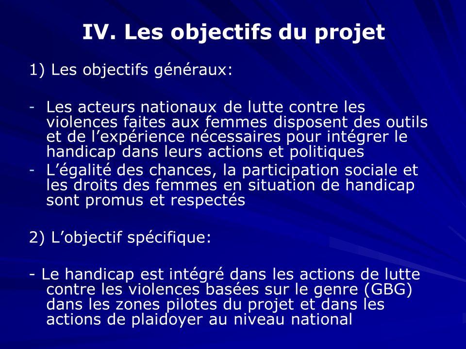 IV. Les objectifs du projet 1) Les objectifs généraux: - - Les acteurs nationaux de lutte contre les violences faites aux femmes disposent des outils