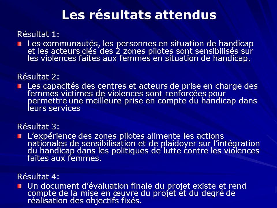 Les résultats attendus Résultat 1: Les communautés, les personnes en situation de handicap et les acteurs clés des 2 zones pilotes sont sensibilisés s