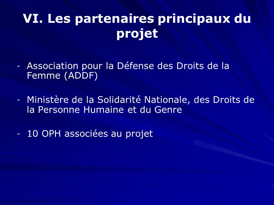 VI. Les partenaires principaux du projet - - Association pour la Défense des Droits de la Femme (ADDF) - - Ministère de la Solidarité Nationale, des D