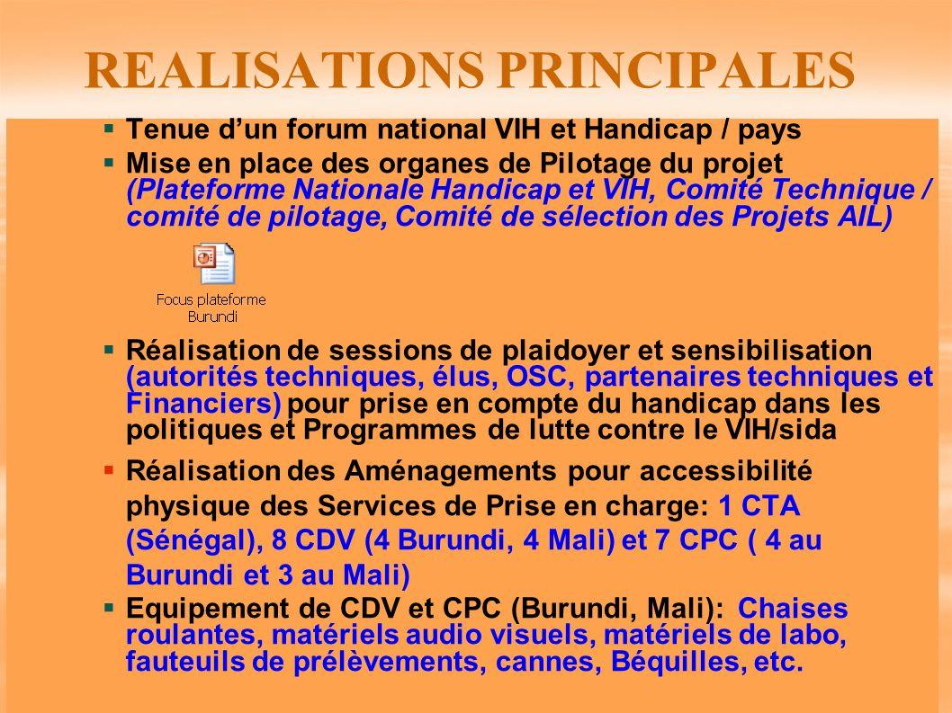 REALISATIONS PRINCIPALES Tenue dun forum national VIH et Handicap / pays Mise en place des organes de Pilotage du projet (Plateforme Nationale Handica