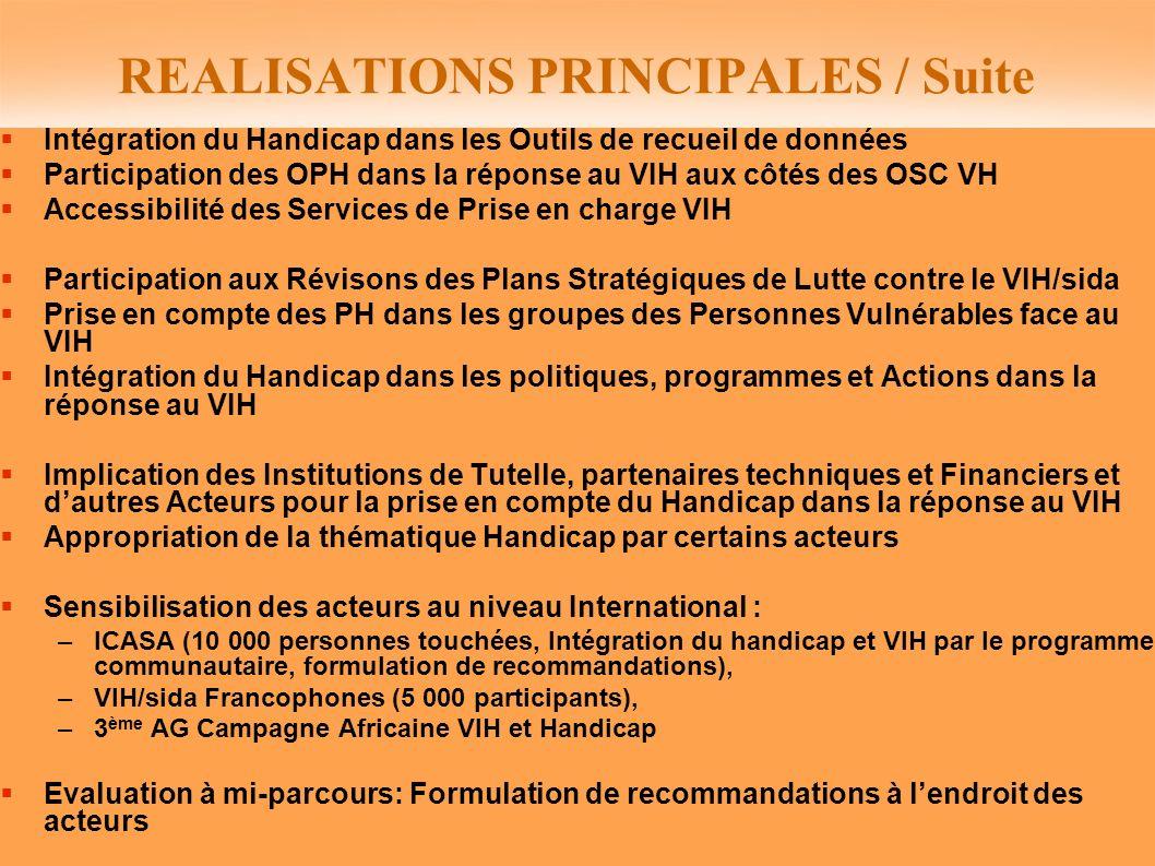 REALISATIONS PRINCIPALES / Suite Intégration du Handicap dans les Outils de recueil de données Participation des OPH dans la réponse au VIH aux côtés