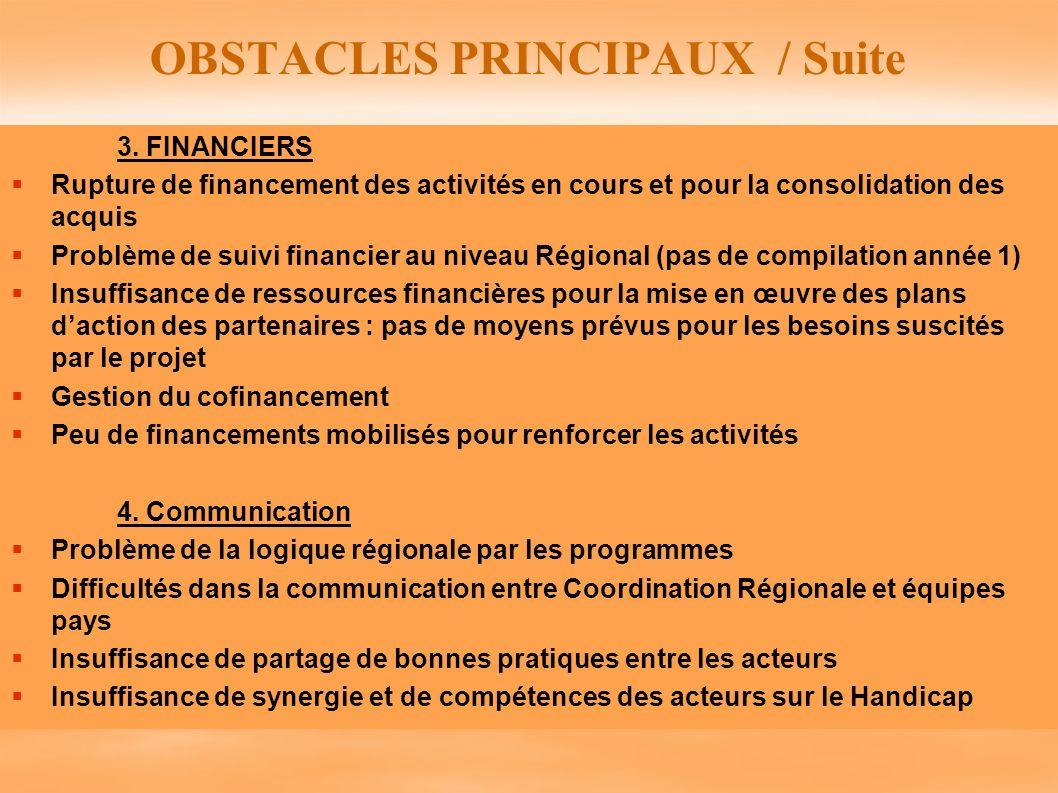 OBSTACLES PRINCIPAUX / Suite 3. FINANCIERS Rupture de financement des activités en cours et pour la consolidation des acquis Problème de suivi financi