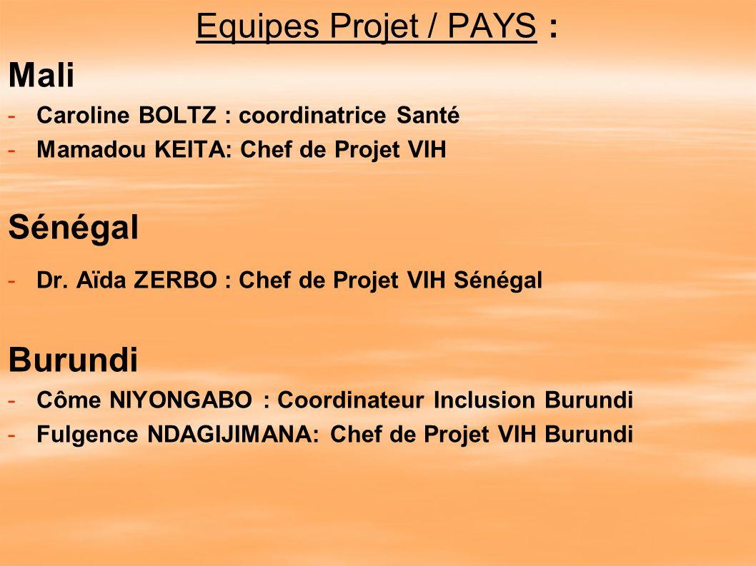 Equipes Projet / PAYS : Mali - -Caroline BOLTZ : coordinatrice Santé - -Mamadou KEITA: Chef de Projet VIH Sénégal - -Dr. Aïda ZERBO : Chef de Projet V