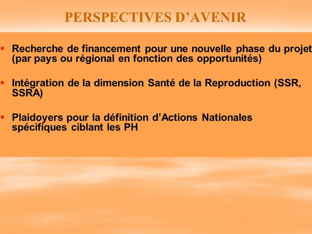 PERSPECTIVES DAVENIR Recherche de financement pour une nouvelle phase du projet (par pays ou régional en fonction des opportunités) Intégration de la