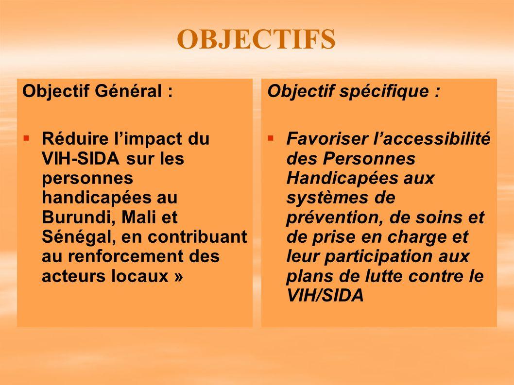 OBJECTIFS Objectif Général : Réduire limpact du VIH-SIDA sur les personnes handicapées au Burundi, Mali et Sénégal, en contribuant au renforcement des