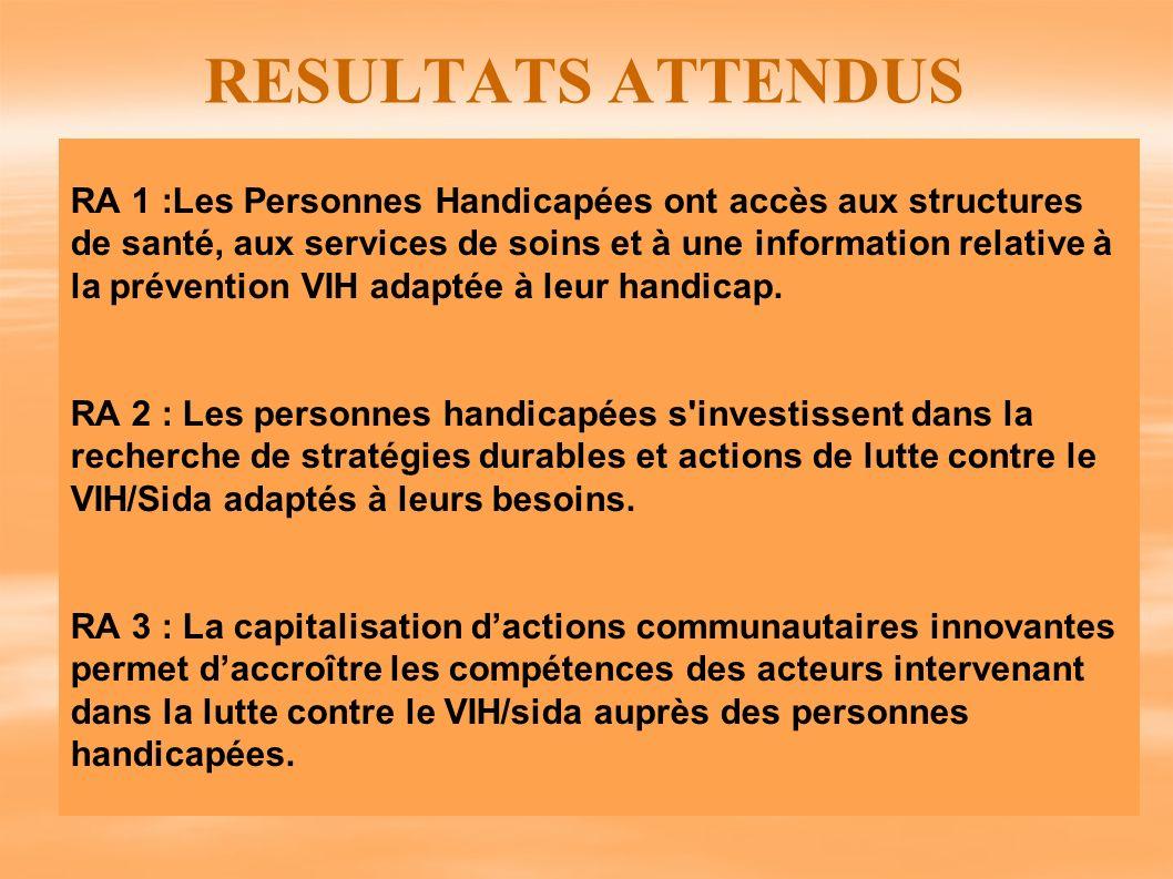 RESULTATS ATTENDUS RA 1 :Les Personnes Handicapées ont accès aux structures de santé, aux services de soins et à une information relative à la prévent