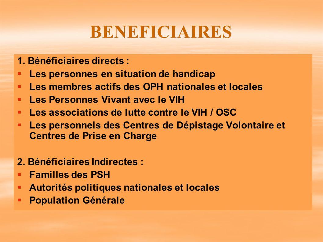 BENEFICIAIRES 1. Bénéficiaires directs : Les personnes en situation de handicap Les membres actifs des OPH nationales et locales Les Personnes Vivant
