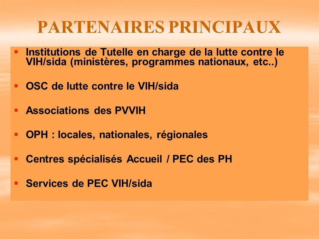 PARTENAIRES PRINCIPAUX Institutions de Tutelle en charge de la lutte contre le VIH/sida (ministères, programmes nationaux, etc..) OSC de lutte contre
