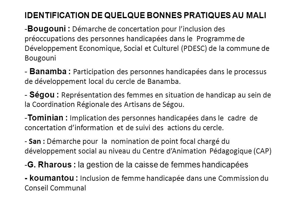 IDENTIFICATION DE QUELQUE BONNES PRATIQUES AU MALI -Bougouni : Démarche de concertation pour linclusion des préoccupations des personnes handicapées d