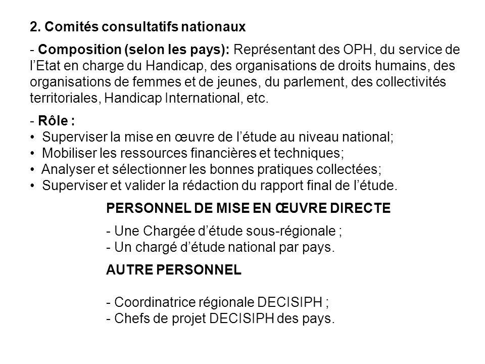 2. Comités consultatifs nationaux - Composition (selon les pays): Représentant des OPH, du service de lEtat en charge du Handicap, des organisations d