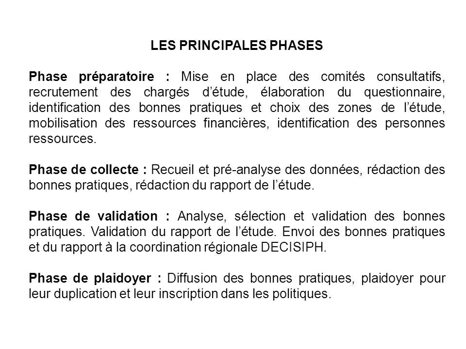 LES PRINCIPALES PHASES Phase préparatoire : Mise en place des comités consultatifs, recrutement des chargés détude, élaboration du questionnaire, iden