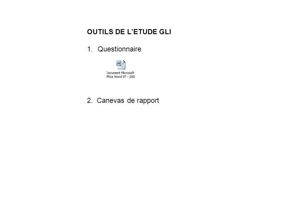 OUTILS DE LETUDE GLI 1.Questionnaire 2. Canevas de rapport