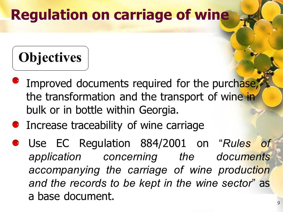 Cliquez et modifiez le titre Cliquez pour modifier les styles du texte du masque Deuxième niveau Troisième niveau Quatrième niveau Cinquième niveau 10 Regulation on carriage of wine Outputs Under activity 8, document N°4 was produced