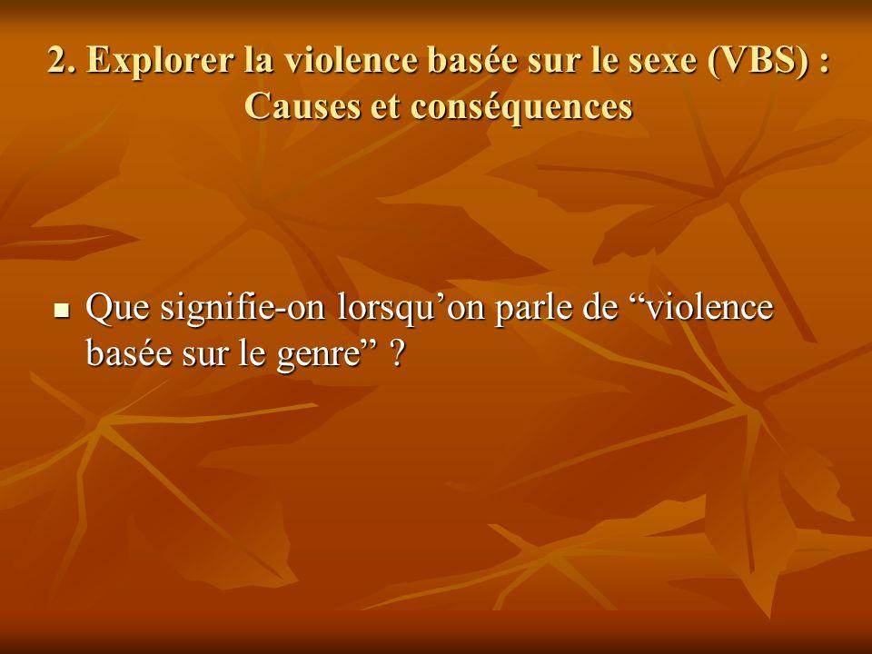 2. Explorer la violence basée sur le sexe (VBS) : Causes et conséquences Que signifie-on lorsquon parle de violence basée sur le genre ? Que signifie-
