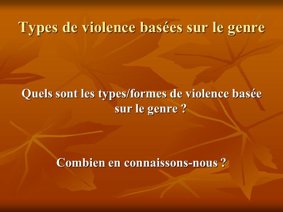 Types de violence basées sur le genre Quels sont les types/formes de violence basée sur le genre ? Combien en connaissons-nous ?