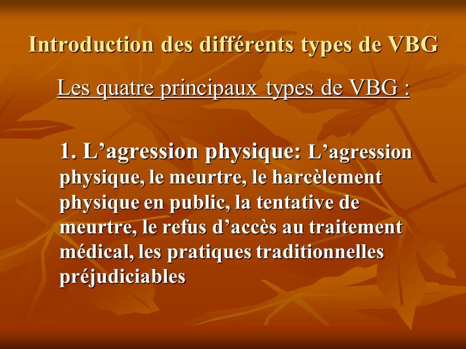 Introduction des différents types de VBG Les quatre principaux types de VBG : 1. Lagression physique: Lagression physique, le meurtre, le harcèlement
