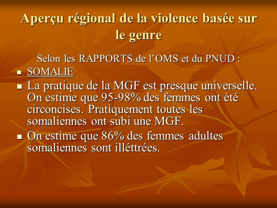 Aperçu régional de la violence basée sur le genre Selon les RAPPORTS de lOMS et du PNUD : SOMALIE SOMALIE La pratique de la MGF est presque universell