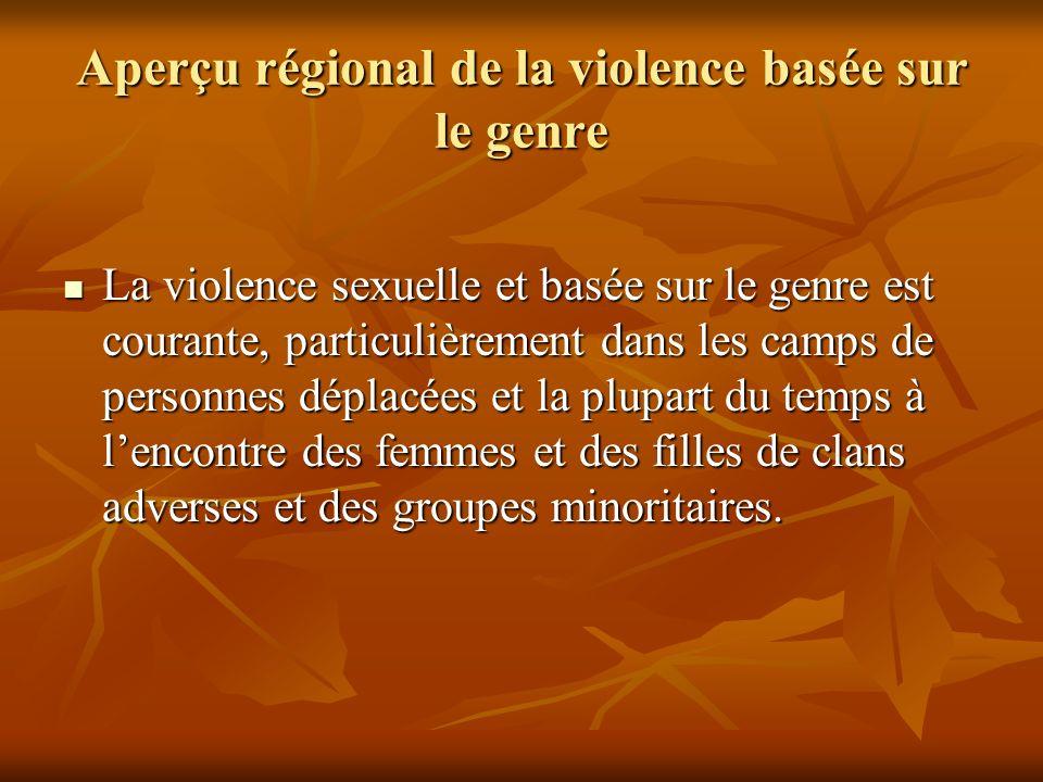 Aperçu régional de la violence basée sur le genre La violence sexuelle et basée sur le genre est courante, particulièrement dans les camps de personne