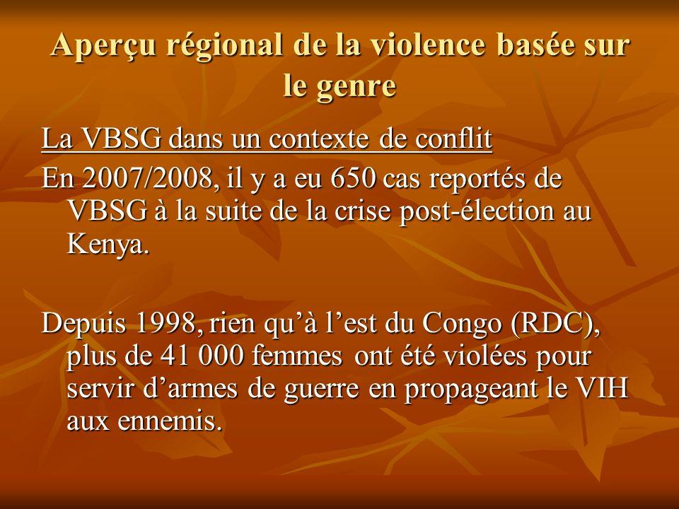 Aperçu régional de la violence basée sur le genre La VBSG dans un contexte de conflit En 2007/2008, il y a eu 650 cas reportés de VBSG à la suite de l