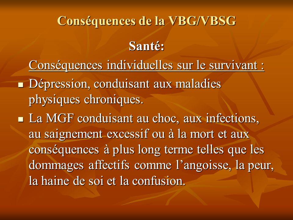 Conséquences de la VBG/VBSG Santé: Conséquences individuelles sur le survivant : Dépression, conduisant aux maladies physiques chroniques. Dépression,