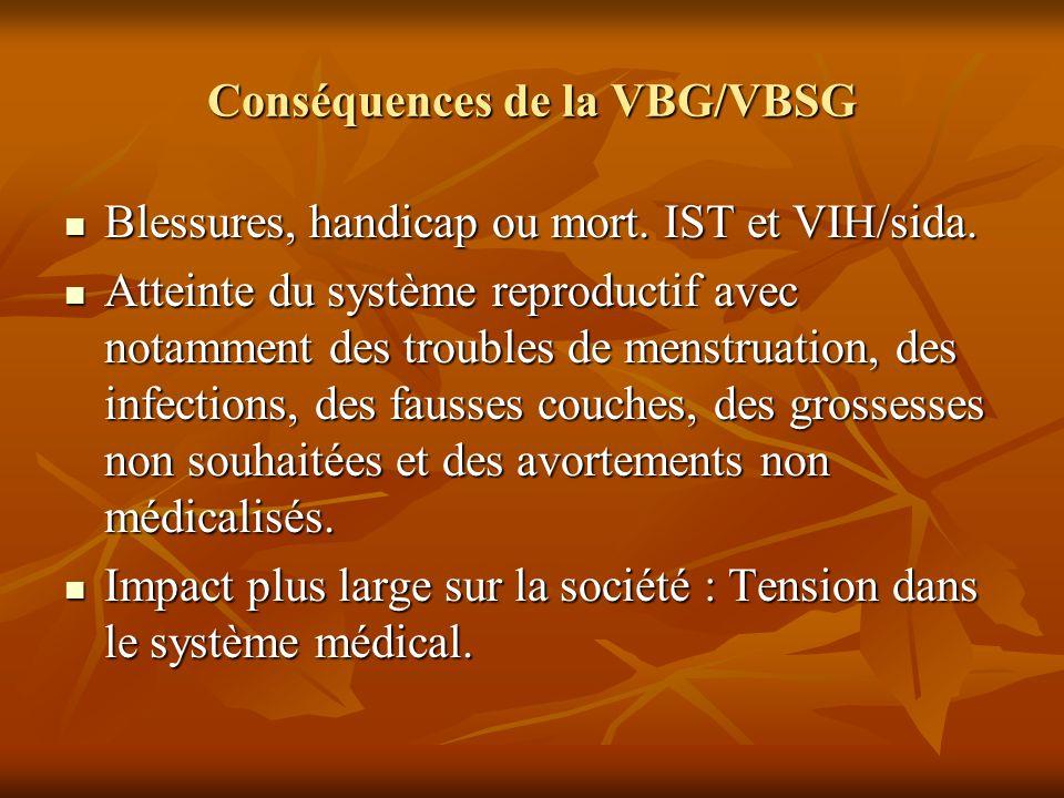 Conséquences de la VBG/VBSG Blessures, handicap ou mort. IST et VIH/sida. Blessures, handicap ou mort. IST et VIH/sida. Atteinte du système reproducti