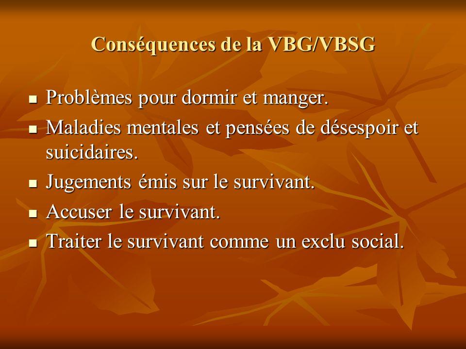 Conséquences de la VBG/VBSG Problèmes pour dormir et manger. Problèmes pour dormir et manger. Maladies mentales et pensées de désespoir et suicidaires