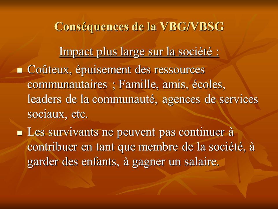 Conséquences de la VBG/VBSG Impact plus large sur la société : Coûteux, épuisement des ressources communautaires ; Famille, amis, écoles, leaders de l