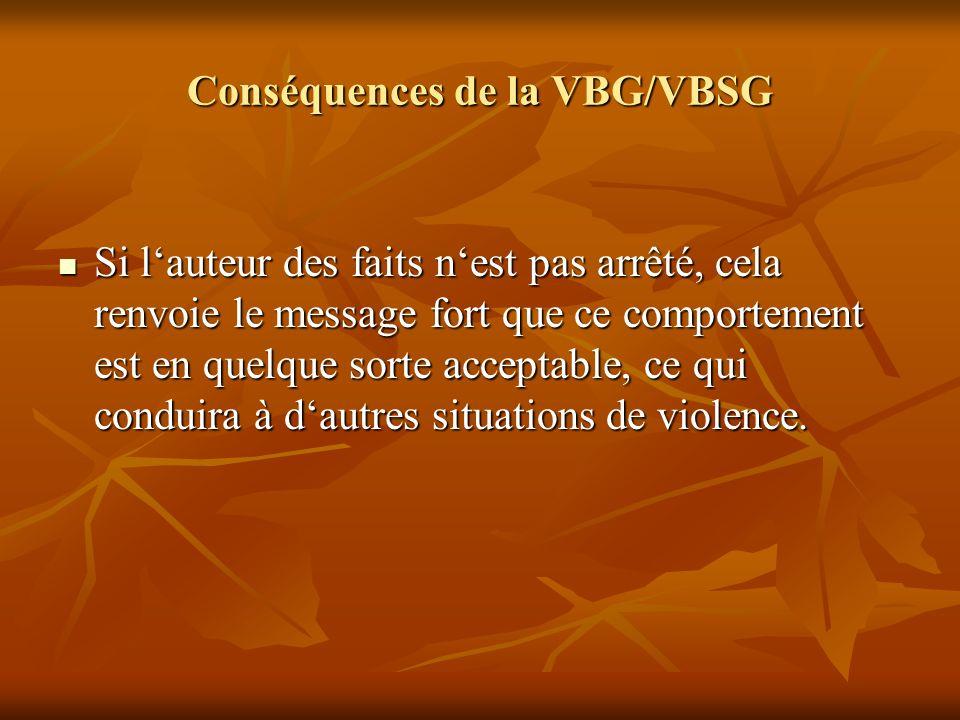 Conséquences de la VBG/VBSG Si lauteur des faits nest pas arrêté, cela renvoie le message fort que ce comportement est en quelque sorte acceptable, ce